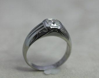 Antique Men's 18K/Diamond Pinkie Ring