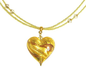 Murano Glass Necklace from Mystery of Venice 'Venetian Gold Heart Necklace'