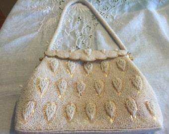 Outstanding 1950's White Beaded Scalloped Handbag Handmade In Hong Kong.
