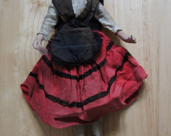 Large Vintage Gypsy Folk Souvenir Fabric Doll In Romanian Style Dress