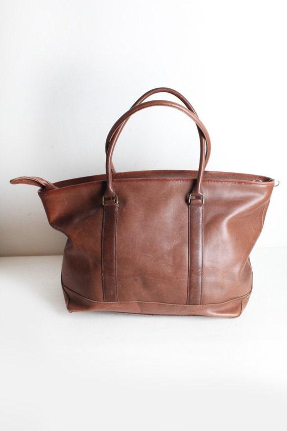 Vintage Leather Ll Bean Tote Bag Carry On Bag Large Shoulder