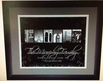 Personalized Letter Alphabet Photo Art 15x18 Matted and Framed Picture Black Mat FREE SHIPPING