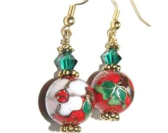 Red Cloisonne earrings