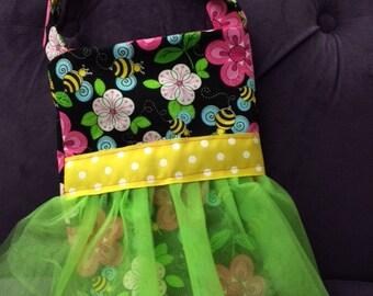 Mini tu- tu cutes spring time bees & flowers little girls purse