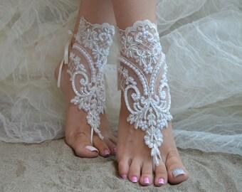 Ivory Lace Sandals  Bangle, Wedding Sandals , Bridal sandals, Ivory Barefoot Sandals, Beach Sandals Bridal Anklet