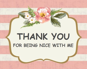 Thank you card, Greeting card, Party card, Pink card, Flower card, Shabby chic