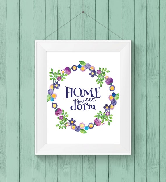 Items similar to PRINTABLE WALL ART  Home Sweet Dorm  ~ 170956_Etsy Dorm Room Ideas