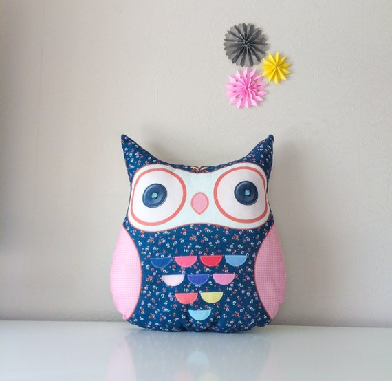 Big owl pillow, stuffed owl, pillow owl