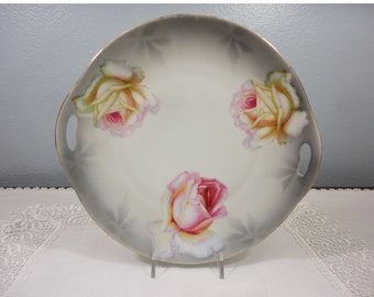 Antique PV Vessra Germany Handpainted Cake Plate