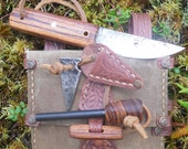 Woodsman Dump Pouch w/ Bushcraft Knife and Ferro Rod