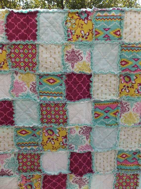 Rag Quilt Patterns For Twin Bed : Twin Rag Quilt Greens Aztec Prints Geometric by RoseCreekBoutique