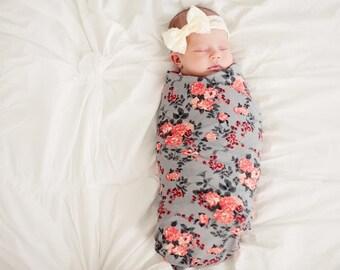 Grey Floral Blanket