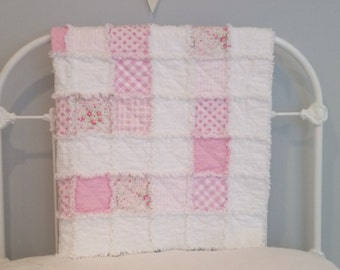Baby Rag Quilt/Vintage Pink/ Shabby Chic