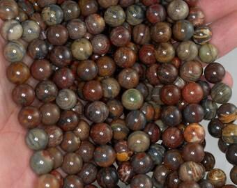 10mm Rainbow Breciated Jasper Gemstone Round 10mm Loose Beads 15.5 inch Full Strand BULK LOT 1,2,6,12 and 50 (90183755-370)