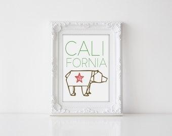 Printable Art California Bear Origami Wall Art