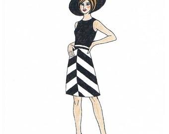 1970s Chevron Skirt Brenda - PDF Schnittmuster Size US6/UK10/DE36 and US8/UK12/DE38