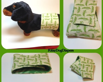 Diaper Male Dog Belly Bands  - Submissive pup - incontinent older dog - Doggie Marking Territory - Green alligator Fabric