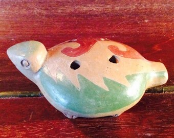 South American Handcrafted Clay Flute