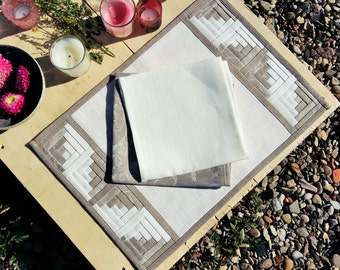 Classic White Linen Patchwork Placemat with Grey Flower Pattern Border