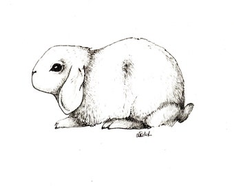 Little bunny illustration / art print / A5 size