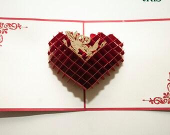 Valentine card, Heart shape pop-up card, 3D pop up card