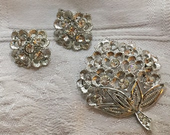 Set of Vintage Sarah Coventry brooch and earrings