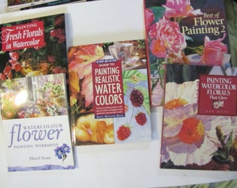 Five Watercolor 4 hardcover, 1 paperback art instruction books