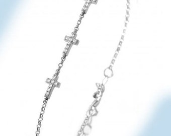 925 Sterling Silver 3 in a Row Crosses Bracelet