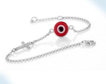 925 Sterling Silver Red Evil Eye & Cross Bracelet