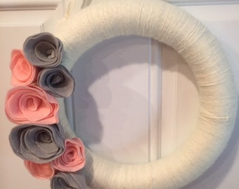 Off White Yarn Wreath with Felt Flowers