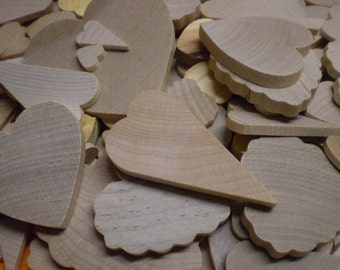 "140 Wood Hearts Shapes 1/2"" to 3"" Various Styles & Cuts Scalloped and Smooth Edge"