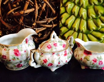 Lefton Hand-Painted Chintz Tea Set