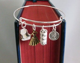 Great Expectations Recycled Book Page and Charm Bracelet