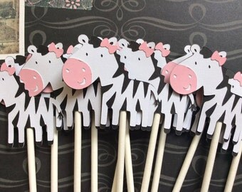 12 Baby Jackie Zebra Cupcake toppers