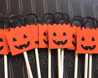 12 Sweet Black and Orange Jack O' Latern Treat Bag Cupcake toppers