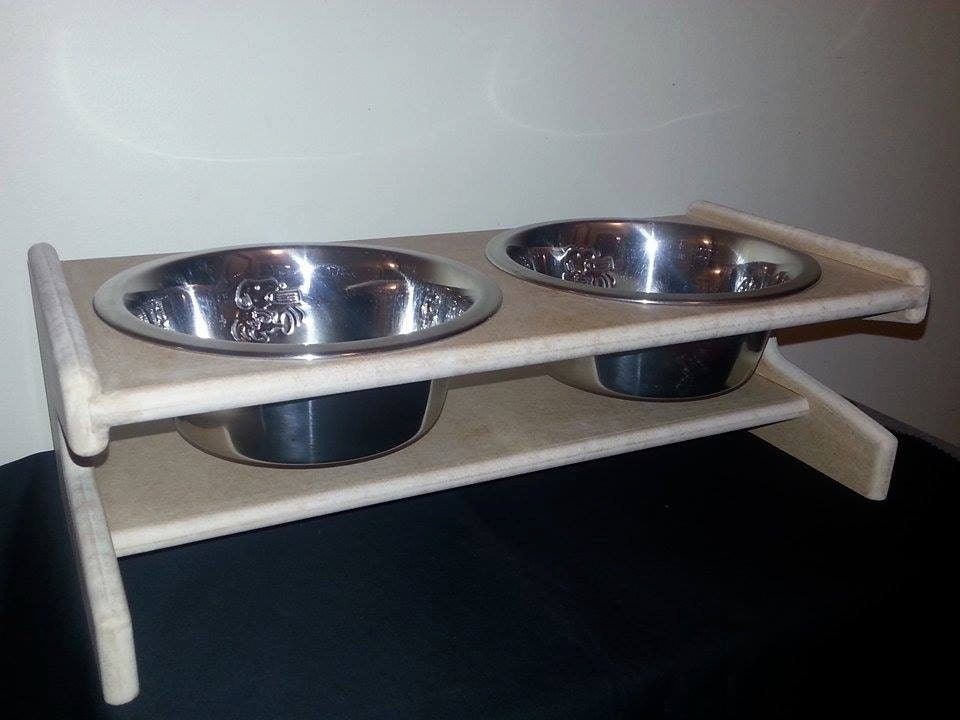 Small Elevated Mdf Pet X2 Bowls Stand Raised Dog Bowl
