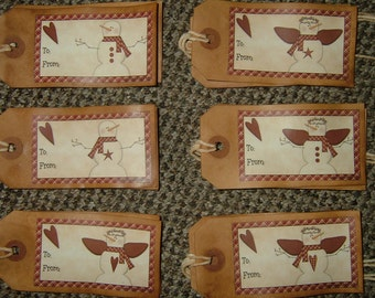 Primitive Hang Tags~To/From Homespun Snowmen~Set Of 12!
