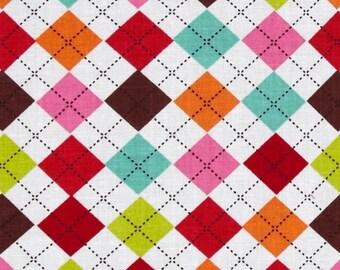 Pink, orange, aqua, brown and white Argyle Quilting Cotton Fabric Yard, Fat Quarter