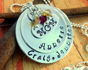 Personalized Mother Necklace,Mom Necklace,Birthstone Necklace,Mother Gift,Mom Jewelry,Mom Gift,Hand Stamped Gift,Custom Made Necklace