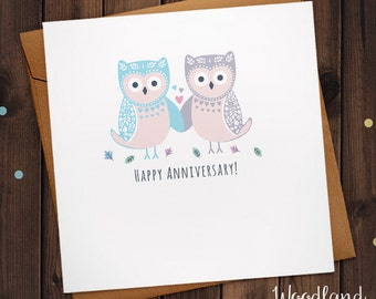 Happy Anniversary Owl love birds Greetings card with love hearts
