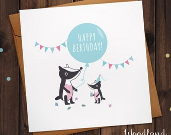 Badger Birthday Card  animal Happy Birthday Badgers greetings Card with Party Hats and bunting