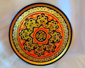 Vintage Russian Hand Painted Wood Plate,Khokhloma (Hohloma) Russian Art,  Russian Folk Art, Russian Wall Hanging, Floral Decorative Plate
