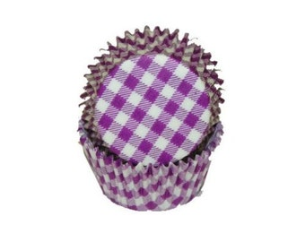 Purple Gingham - Baking Cupcake Liners - 50 Count
