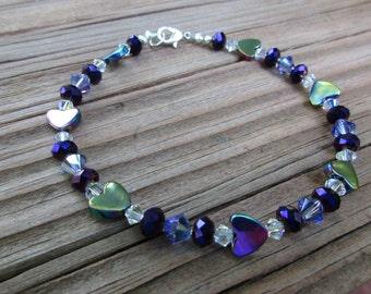 Purple Hearts Ankle Bracelet