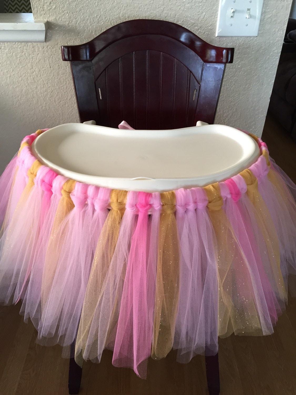 tutu high chair skirt pink gum pink and glitter gold