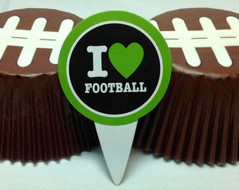 Football Baking Cups & Picks....24ct....Cupcakes...School Events Tailgating