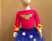 Wonder Woman onesie costume, Wonder Woman birthday costume, tulle birthday costume, photo prop, birthday dress up