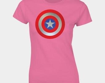 Womans Captain America Shield T-shirt