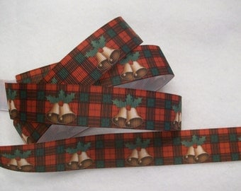 Christmas Bells and Plaid Grosgrain Ribbon 7/8""