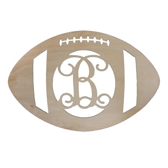 Unfinished Wooden Initial Football Door Hanger | Football | DIY paint in your team colors | Fall = Football | FREE shipping